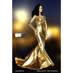 Female Evening Gown Dress Set (Gold)