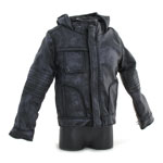 Battle Damaged Hooded Leather Jacket (Black)