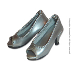 Shoes Series - Silver Open Toe Heel Pumps