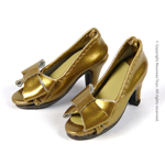 Shoes Series - Gold Bow Open-Toe Heel Shoes