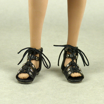 Female Gladiator Leather Strap Sandal Shoes (Black)