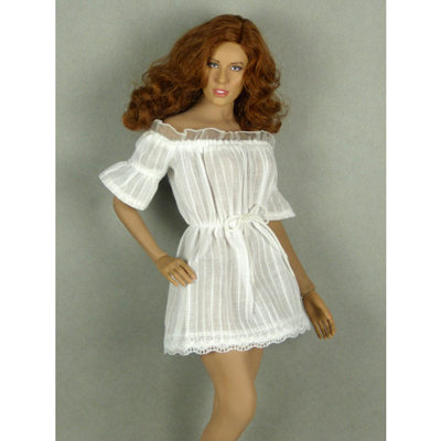Female Lace Off-Shoulder Romper Mini Dress (White)