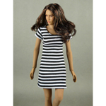 Female Stripes Mini Dress (White)