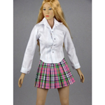 Female Shirt & Plaid Skirt Set (Pink)