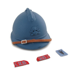 French Adrian Helmet with 25 eme RA Collars Tab (Blue)