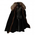 Flexible Cape with Fur Collar (Black)
