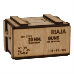 Wooden 20mm Cartridges Ammo Box (Beige)