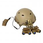 Base Jump Fast Helmet with Ground Panoramic GPNVG-18 NVG (Beige)