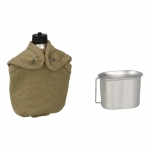 Canteen with Cup and Pouch (Khaki)