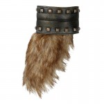 Leather Viking Girdle with Fur (Grey)