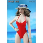 Female Swimming Suit with Beach Hat (Red)