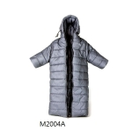 Hoodie Collar Long Down Coat (Grey)