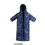 Hoodie Collar Long Down Coat (Blue)