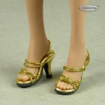 Female Strap High Heel Shoes (Gold)
