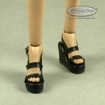 Female Strap Wedge Heel Shoes (Black)
